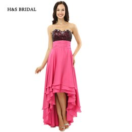 Wholesale Modern H - H&S BRIDAL Sweetheart Hi Low Chiffon Prom Dresses Pink Beaded Short Front Back Long Evening Party Gowns sh0086