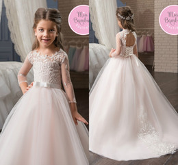 Wholesale Kids Corsets Dresses - Sheer Long Sleeves Lace Flower Girl's Dresses Jewel Neck Organza Corset Back Kids Formal Wear Birthday Party First Communion Gowns
