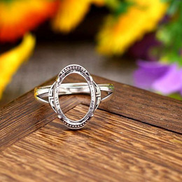 Wholesale Engagement Mount Setting - 10x14mm Oval Cabochon Semi Mount Engagement Ring 925 Sterling Sivler Women Ring Vintage Antique Art Deco Retro Fine Silver Jewelry Setting