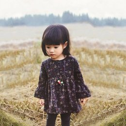 Wholesale Vintage Baby Outfits - Wholesale- Hot 0-2 Years Baby Girls Vintage Pleated Floral Dress Button Up Outfit Outwear