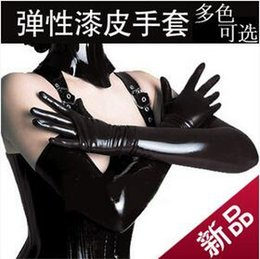 Wholesale Queen Patents - Wholesale- Sexy Patent Leather Glove Gluing Tight Long Sexy Queen Seduction Coated Glove DS Steel Tube Dance Light Leather Gloves