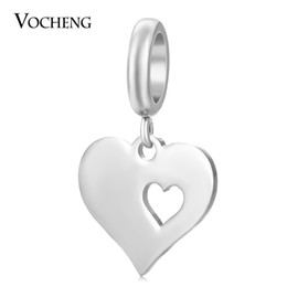 Wholesale Heart Dangle Charms - Endless Stainless Steel Charms Double Heart Dangle Jewelry for Sheepskin Bracelet DIY Accessories VC-394