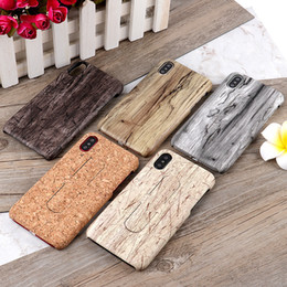 Wholesale Wood Skin Iphone Case - Wood Case Ultra Thin Wooden grain PU Leather Skin PC cover With Hidden U-Shape Kickstand Holder Cover For iPhone X 8 7 6 6S Plus