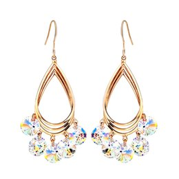Wholesale Crystal For Chandelier Wholesale - Jewelry Rose Gold Plated MADE WITH SWAROVSKI ELEMENTS Crystal Dangle Drop Neoglory Earrings for Women New For Women