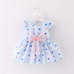 Wholesale Birds Chiffon - 2 color 2017 hot selling Korean style new arrival girl summer cute Abstract birds printting Big bow vest skirt free shipping