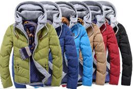 capucha chaqueta de pana Rebajas 2016 Populares invierno cálido Down Parkas sudaderas con capucha de algodón streetwear Contraste color bomber jacket hombres Abrigos de prendas de vestir exteriores de los hombres
