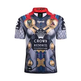 Wholesale El Shirt Iron Man - 2017 rugby Jersey Newcastle Knights Iron Patriot Brisbane Broncos Iron Man Melbourne Storm Thor Wests rugby shirts size S-3XL
