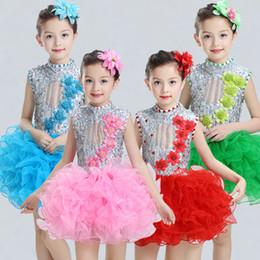 Wholesale Salsa Dresses For Kids - modern kids dance costumes for kids sequins tutu dance dress for girls salsa stage wear dance costumes clothes for salsa