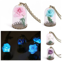 Wholesale Glass Plate Pendant Light - 2017 murano Bell shape lampwork glass pendants necklaces jewelry dry flowers night lighting bell pendants necklace