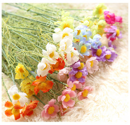 Wholesale Green Chrysanthemums - 50pcs Bouquet Artificial Wild Chrysanthemum Flower silk for Home Wedding Holiday Beauty Decoration wholesale Artificial Flower 8color option