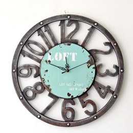 Wholesale Decorative Art Wall Clock - Wholesale-Fashion Oversized 3D retro rustic decorative luxury art big gear wooden vintage large wall clock on the wall for giftBGZ-006