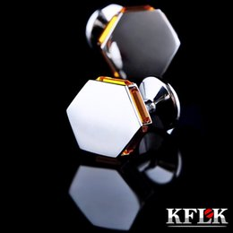 Wholesale Crystal Mens Cuff Links - 5 Colors KFLK Luxury shirt cufflinks for mens gift Brand cuff buttons Crystal cuff link High Quality abotoaduras Jewelry