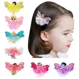 Wholesale Fairy Babies - 8 styles Girls Fairy Princess Lace sequins Hairpins White Butterfly Wings Hair Clips Cute Pretty baby hair accessory