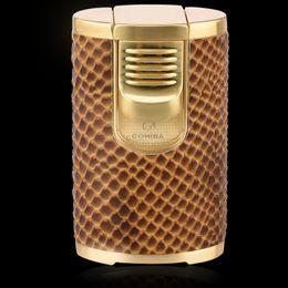 Wholesale Cohiba Torch - Single COHIBA Creative Design Snakeskin pattern Windproof Brand New Fove Torch Jet Flame Cigar Cigarette Lighter