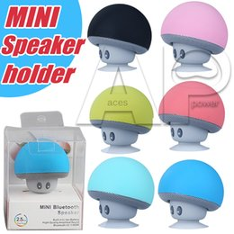 Wholesale Speaker Wireless Tablet - Mini Mushroom Speakers Cell Phone Holder Subwoofers Bluetooth Wireless Speaker For Samsung S8 Plus Silicone Suction Cup Tablet PC Stand