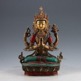 Wholesale Hand Painted Buddha - China brass Gilt turquoise Hand-painted Carved Four armt Tara Buddha Statue