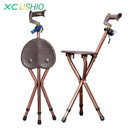 Wholesale Led Stools - Wholesale- Adjustable Folding Walking Cane Chair Stool Massage Walking Stick with Seat Portable Fishing Rest Stool with LED Light for Elder
