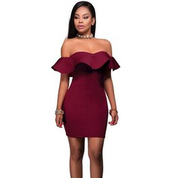 Wholesale Short Tight Sexy Dresses - 2017 Ruffle Strapless Off Shoulder Summer Dress Women Short Red Robe Sexy Bodycon Dress Club Wear Tight Party Dresses