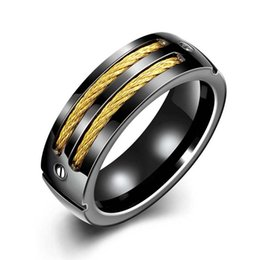 Wholesale Design Mixed Stainless Steel Rings - 316L Titanium steel ring Men's ring Wedding Band with Stainless Steel Cables Design Wedding Ring Men fashion jewelry 080205