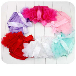 Wholesale Baby Diaper Cover Tutu - Lovely Baby Ruffles Chiffon Bloomer Tutu Infant Toddler Cotton Silk Bow Skirt Shorts Kids Layers Skirt Diaper Cover Underwear PP Shorts