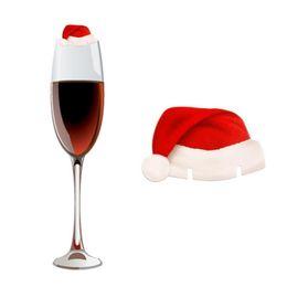 2019 balcão de bar atacado Encantos De Vidro De Vinho Encantos De Vinho Encantos De Vinho Rótulo Red Hat Papai Noel Marcadores Cartões de Nome Xmas Festival Decorações Do Partido 10 pçs / set