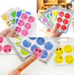 Wholesale Smiley Face Mosquito - Anti Mosquito Repellent Insect Repellent Bug Patches Smiley Smile Face Sticker Baby Mosquito Repellent Stickers 6pcs pack CCA6596 27300pcs