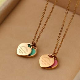 Wholesale green heart double chain necklace - 2017 Hot Fashion Forever Love powder blue double Love necklace Drip heart 18 k rose gold clavicle short chain for woman Tif Nekclace