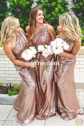 Wholesale mermaid prom dresses for sale - 2017 Sparkly Rose Gold Sequins Bridesmaid Dresses One Shoulder Mermaid Maid Of Honor Prom Party Gown Cheap For Sale