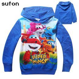 Wholesale Wings Casual Hoodie - Wholesale- Super wings Sweatshirts hoodies girls boys clothing More color kids clothes cartoon tops casual style Cartoon sweater Hooded