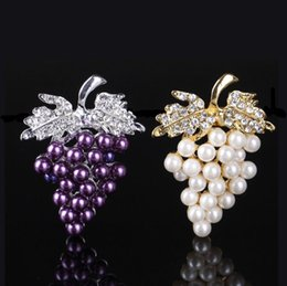Wholesale Crystal Grape Wholesale - Women Charms Rhinestone Crystal Wedding Bridal Grape Brooch Pin Jewelry