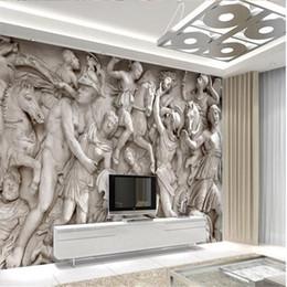 Wholesale 3d Wall Painting Art - Custom photo wallpaper 3D European Roman statues art wallpaper restaurant retro sofa backdrop 3d wallpaper mural wall painting