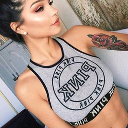 Wholesale Pink Tank Top Small - Women sports clothing Gym active tank Pink letter Girls crop top Casual chest wrap Small round neck knit tank European hotsale Gray 2017