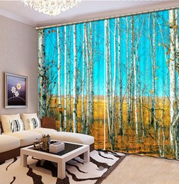 Wholesale Custom Kitchen Curtains - High Quality Customize size Modern window curtain auturn forest tree custom curtain
