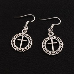 Wholesale 925 Circle Earrings - Flower Circle Cross Earrings 925 Silver Fish Ear Hook Antique Silver Chandelier E495 16.4x37.1mm 40pairs lot