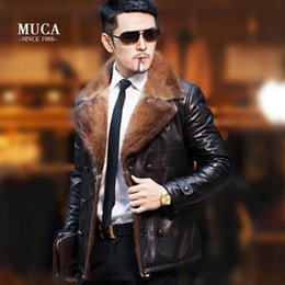 Wholesale Genuine Fur Jackets Coats - 2017 men genuine leather jacket men's mink fur collar leather jackets sheepskin suit down coat mens motorcycle leather outerwear