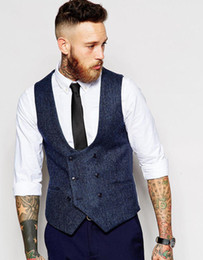 Manteaux formels conçus en Ligne-Latest Coat Pant Designs Navy Blue Double Breasted Tweed Men Vest Waistcoat Fashion Slim Fit Formal Custom Stylish Vestidos