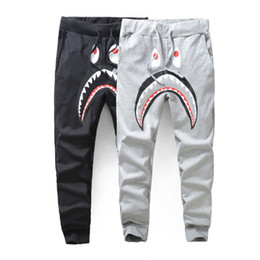 Wholesale Popular Pants - Men Hoodie Pants Hip-Hop Casual Trousers Popular Japan Style Pants Women Men's Casual Sweatpants Pants Shark Printing Thin Pant