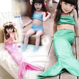 Wholesale Swim Wear For Kids - kids girls summer Mermaid swimming wear fashion Swimming Beach Wear for children girl Mermaid bathing suit three-piece bikini+footies retail