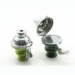 Wholesale Ceramic Foil - 5pcs Shisha Hookah Accessories Foil Hose Charcoal Screen Narguile Hookah Ceramic Bowl Windproof With Cover Water Pipe Chicha smoking gift