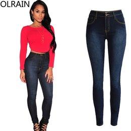 Wholesale Jean Hot Pant Women - Wholesale- Olrain Hot Women Fashion Bodycon High Waist Stretch Denim Pants Skinny Jean Trousers Plus Size