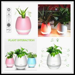 Wholesale Big Plastic Plant Pots - TOKQI bluetooth Smart Music Flower pots intelligent real plant touch play flowerpot colorful light long time play bass speaker Night light