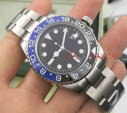 Wholesale Mechanical Black - 2017 New luxury brand GMT Ceramic Bezel Mens Mechanical Stainless Steel Automatic Movement Watch Sports Self-wind Watches Roless Wristwatch