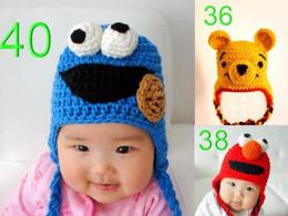 Wholesale Toddler Boy Crochet Pattern - Baby Crochet Hat Knitted Cap Winter Beanie Sesame Street ELMO Pattern Children Animal Design Headwear Boy Girl Kid Infant Toddler Cotton Hat