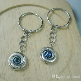 Wholesale Eye Holder - Hot ! 50Pcs Tibetan Silver EVIL EYE Kabbalah Charm Belt Chains key Ring 15 x 65mm DIY Jewelry