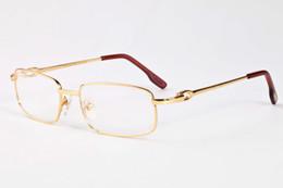 Wholesale Mens Eyeglass Frames Square - vintage mens buffalo horn glasses 2018 womens brand sunglasses full frame gold silver frame clear lenses eyeglasses with box