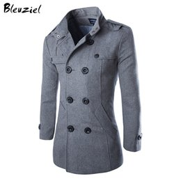 Wholesale Classic Warm Wool Winter Coat - Wholesale- 2016 British Style Warm Wool Double Button Business Classic Black Grey Long Men Coat Autumn Winter Fashion Brand XXXL