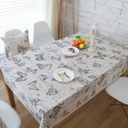 Wholesale Country Coffee Tables - Butterfly Cotton Linen Table Cloth America Country Style Rectangle Coffee Table Cover with Lace Edge manteles para mesa ZB-64