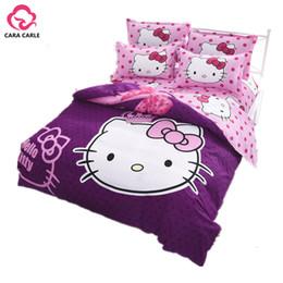 Wholesale Kids Comforter Bedding Sets - Wholesale-Hello kitty Bedding Set 4pcs include Duvet Cover Bed Sheet Pillowcase Children Kids Comforter Bedding Sets housse de couette