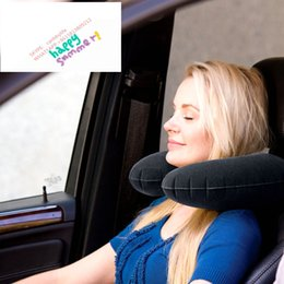 Wholesale U Shaped Airplane Pillow - Wholesale- Intex U Shape Black Travel Pillow Flocked Velvet Inflatable Neck Support Travel Pillow Inflatable Pillow Airplane Train Car