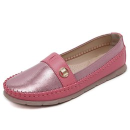 Wholesale Ladies Boat Shoes - Supper Soft Slip on Ladies Shoes Flat 2017 Spring Summer Women Ballet Flats Round Toe Casual Boat Shoes Loafers Zapatos Mujer